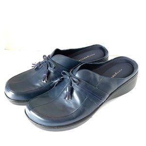 Easy Spirit navy blue slip on mules clogs tassels
